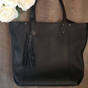 Lucky Brand Black Hayes Genuine Leather Tote NWOT